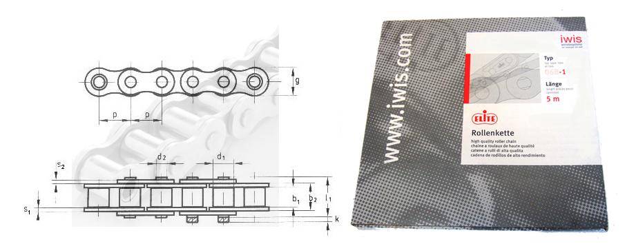 DIN 8188 // ISO606 // Teilung 12,7 mm x 7,85 mm als Bund 5m Rollenkette 08A-1