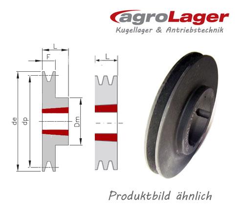 DA 116mm für Buchse 1610 Taper Keilriemenscheibe 2-rillig SPZ//10mm DW 112mm